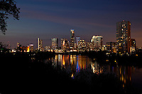 New Austin Image from Travis Heights with lights reflecting on the still waters of beautiful Lady Bird Lake.