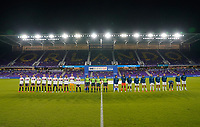 ORLANDO CITY, FL - FEBRUARY 24: Starting lineup's of USA and Argentina during a game between Argentina and USWNT at Exploria Stadium on February 24, 2021 in Orlando City, Florida.