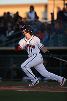 Brendan Rodgers (1) of the Lancaster JetHawks bats against the Lake Elsinore Storm at The Hanger on June 12, 2017 in Lancaster, California. Lancaster defeated Lake Elsinore, 13-6. (Larry Goren/Four Seam Images)