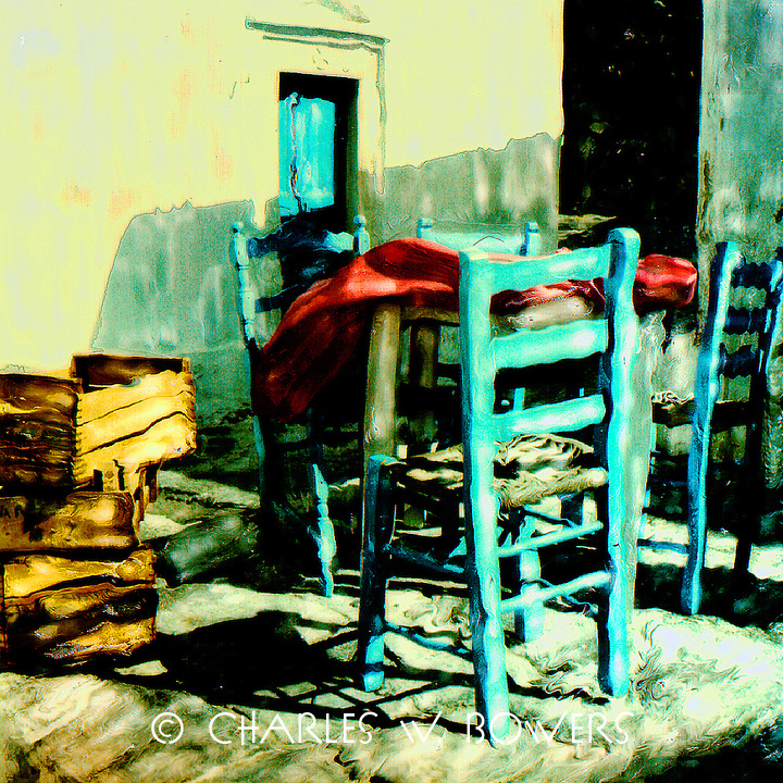 The Grecian sunset baths warmth onto the spare blue chairs. Duty will come - soon.