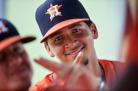 GCL Astros Hansel Paulino (14) in the dugout during a game against the GCL Nationals on August 14, 2016 at the Carl Barger Baseball Complex in Viera, Florida.  GCL Nationals defeated GCL Astros 8-6.  (Mike Janes/Four Seam Images)