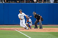 Stuart Fairchild (4) of the Wake Forest Demon Deacons lines a double down the third base line against the Florida Gators in Game Two of the Gainesville Super Regional of the 2017 College World Series at Alfred McKethan Stadium at Perry Field on June 11, 2017 in Gainesville, Florida.  (Brian Westerholt/Four Seam Images)