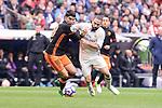 Real Madrid's Daniel Carvajal and Valencia CF's Carlos Soler during La Liga match between Real Madrid and Valencia CF at Santiago Bernabeu Stadium in Madrid, April 29, 2017. Spain.<br /> (ALTERPHOTOS/BorjaB.Hojas)