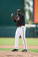 GCL Orioles relief pitcher Felix Bautista (55) gets ready to deliver a pitch during the first game of a doubleheader against the GCL Twins on August 1, 2018 at CenturyLink Sports Complex Fields in Fort Myers, Florida.  GCL Twins defeated GCL Orioles 7-6 in the completion of a suspended game originally started on July 31st, 2018.  (Mike Janes/Four Seam Images)