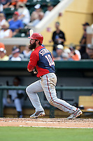 Washington Nationals third baseman Ian Stewart (10) during a Spring Training game against the Detroit Tigers on March 22, 2015 at Joker Marchant Stadium in Lakeland, Florida.  The game ended in a 7-7 tie.  (Mike Janes/Four Seam Images)