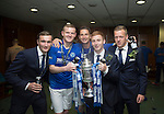 St Johnstone v Dundee United....17.05.14   William Hill Scottish Cup Final<br /> From left, Chris Kane, Brian Easton, Gary McDonald, Liam Caddis and Scott Brown<br /> Picture by Graeme Hart.<br /> Copyright Perthshire Picture Agency<br /> Tel: 01738 623350  Mobile: 07990 594431