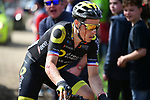 A bloodied Sylvain Chavanel (FRA) Direct Energie on one of the pave sectors during the 116th edition of Paris-Roubaix 2018. 8th April 2018.<br /> Picture: ASO/Pauline Ballet | Cyclefile<br /> <br /> <br /> All photos usage must carry mandatory copyright credit (© Cyclefile | ASO/Pauline Ballet)