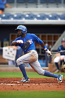 Dunedin Blue Jays outfielder Anthony Alford (10) at bat during a game against the Charlotte Stone Crabs on July 26, 2015 at Charlotte Sports Park in Port Charlotte, Florida.  Charlotte defeated Dunedin 2-1 in ten innings.  (Mike Janes/Four Seam Images)