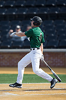 D.J. Poteet (4) of the Wake Forest Demon Deacons watches the flight of his solo home run leading off the bottom of the first inning against the Louisville Cardinals at David F. Couch Ballpark on March 17, 2018 in  Winston-Salem, North Carolina.  The Cardinals defeated the Demon Deacons 11-6.  (Brian Westerholt/Four Seam Images)
