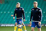 Celtic v St Johnstone…12.05.21  SPFL Celtic Park<br />Charlie Gilmour in the starting line up for tonight's game pictured with James Brown during the warm up<br />Picture by Graeme Hart.<br />Copyright Perthshire Picture Agency<br />Tel: 01738 623350  Mobile: 07990 594431