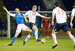 St Johnstone v Ross County…24.10.17…  McDiarmid Park…  SPFL<br />Thomas Mikkelsen is tackled by Steven Anderson<br />Picture by Graeme Hart. <br />Copyright Perthshire Picture Agency<br />Tel: 01738 623350  Mobile: 07990 594431
