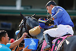 June 26, 2021: Jockey Jose L. Ortiz cools off aboard Maxfield, #8 after winning the Stephen Foster Stakes (Grade 2) at Churchill Downs on June 26, 2021 in Louisville, Kentucky. Candice Chavez/Eclipse Sportswire/CSM