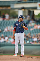 Salt Lake Bees starting pitcher Osmer Morales (35) delivers a pitch to the plate against the El Paso Chihuahuas at Smith's Ballpark on July 5, 2018 in Salt Lake City, Utah. El Paso defeated Salt Lake 3-2. (Stephen Smith/Four Seam Images)