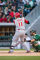 Andrew Knizner (11) of the North Carolina State Wolfpack at bat against the Charlotte 49ers at BB&T Ballpark on March 31, 2015 in Charlotte, North Carolina.  The Wolfpack defeated the 49ers 10-6.  (Brian Westerholt/Four Seam Images)
