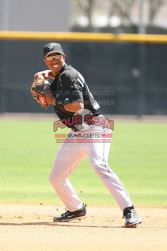 March 17th 2008:  Justin Jackson of the Toronto Blue Jays minor league system during Spring Training at Legends Field Complex in Tampa, FL.  Photo by:  Mike Janes/Four Seam Images