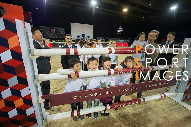 Dr. Simon Yip walks the course before the Hong Kong Jockey Club Trophy competition, part of the Longines Masters of Hong Kong on 10 February 2017 at the Asia World Expo in Hong Kong, China. Photo by Juan Serrano / Power Sport Images