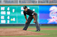 Umpire Jose Matamoros during a Texas League game between the Amarillo Sod Poodles and Frisco RoughRiders on July 13, 2019 at Dr Pepper Ballpark in Frisco, Texas.  (Mike Augustin/Four Seam Images)