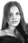 Portrait of Maria a young Danish woman. Portrait is Black and White, Hollywood style.