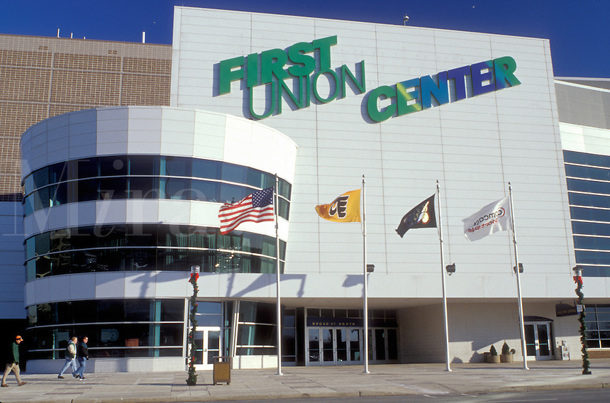stadium, sports complex, Philadelphia, Pennsylvania, PA, First Union Center, Home of the Flyers and Sixers, in Philadelphia.