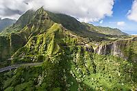 An aerial view of the Pali Highway and Ko'olau Mountains, O'ahu.