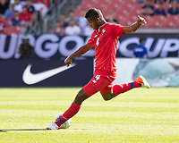 CLEVELAND, OH - JUNE 22: Fidel Escobar #4 during a game between Panama and Guyana at FirstEnergy Stadium on June 22, 2019 in Cleveland, Ohio.