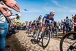 Niki TERPSTRA from the Netherlands of Quick-Step Floors at the 4 star cobblestone sector 26 from Fontaine-au-Tertre to Quievy during the 2018 Paris-Roubaix race, France, 8 April 2018, Photo by Pim Nijland / PelotonPhotos.com | All photos usage must carry mandatory copyright credit (Peloton Photos | Pim Nijland)