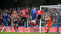 Timo Werner scores for Chelsea with a header, but the goal was ruled out after the referee looked at a replay  pitch side during Chelsea vs Southampton, Premier League Football at Stamford Bridge on 2nd October 2021