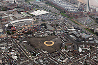 Pictured: The area where the Vetch Field, former home ground of Swansea City Football Club ground was, Quadrant shopping centre and bus station to left, Tesco Marina store top, Swansea prison right.. 16 September 2011<br />