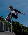 London, UK. 01.06.2019. Josh Ward-Brickett, skater, in Clapham Common skate park. Photograph © Jane Hobson.