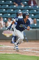 Kyle Kasser (28) of the Wilmington Blue Rocks starts down the first base line against the Winston-Salem Warthogs at BB&T Ballpark on July 17, 2019 in Winston-Salem, North Carolina. The Blue Rocks defeated the Warthogs 4-1. (Brian Westerholt/Four Seam Images)