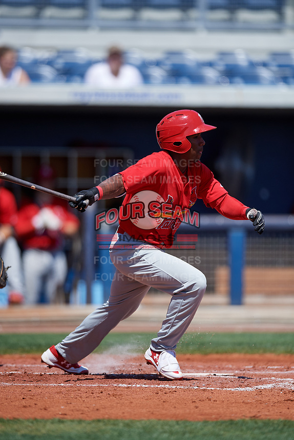 Palm Beach Cardinals second baseman Darren Seferina (12) follows through on a swing during a game against the Charlotte Stone Crabs on April 12, 2017 at Charlotte Sports Park in Port Charlotte, Florida.  Palm Beach defeated Charlotte 8-7 in ten innings.  (Mike Janes/Four Seam Images)