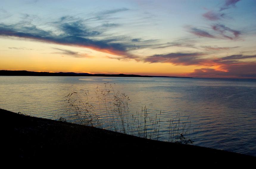 A beautiful summer sunset over Lake Superior. Marquette, MI