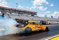 Aug 9, 2020; Clermont, Indiana, USA; NHRA funny car driver J.R. Todd (near) smokes the tires in the final round against Ron Capps at the Indy Nationals at Lucas Oil Raceway. Mandatory Credit: Mark J. Rebilas-USA TODAY Sports