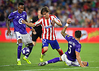 Orlando, FL - Wednesday July 31, 2019:  Rodrigo Riquelme #32, Mark-Anthony Kaye #15 during the Major League Soccer (MLS) All-Star match between the MLS All-Stars and Atletico Madrid at Exploria Stadium.