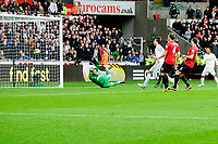 Sunday, 23 November 2012<br /> <br /> Pictured: Michu of Swansea City scores<br /> <br /> Re: Barclays Premier League, Swansea City FC v Manchester United at the Liberty Stadium, south Wales.