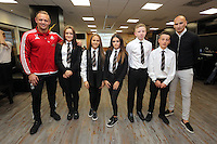 Pictured: Lee Trundle and Jonjo Shelvey pose with pupils from Pentrehafod School Wednesday 25 November 2015<br /> Re: Schools take part in this year's Premier League Enterprise vent at Penderyn Suite, Liberty Stadium, Swansea, UK