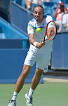 Alexandr Dolgopolov (UKR) splits the first two sets with Novak Djokovic (SRB) 4-6, 7-6 at the Western and Southern Open in Mason, OH on August 22, 2015.