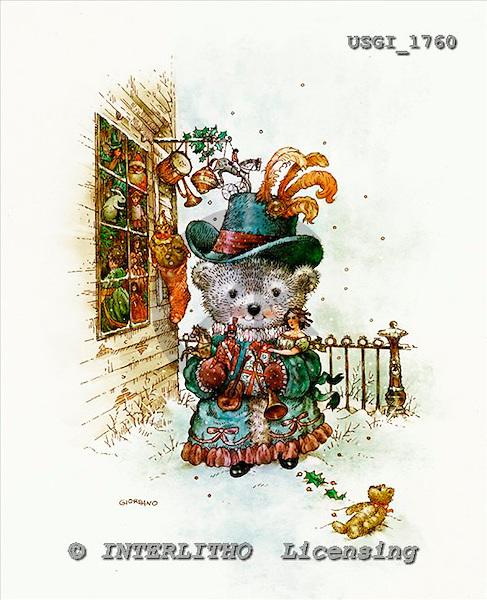 GIORDANO, CHRISTMAS ANIMALS, WEIHNACHTEN TIERE, NAVIDAD ANIMALES, Teddies, paintings+++++,USGI1760,#XA#