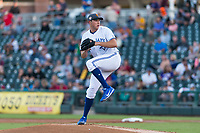AFL West starting pitcher Nate Pearson (), of the Toronto Blue Jays organization and Surprise Saguaros, delivers a pitch during the Fall Stars game at Surprise Stadium on November 3, 2018 in Surprise, Arizona. The AFL West defeated the AFL East 7-6 . (Zachary Lucy/Four Seam Images)
