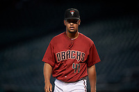 AZL D-backs starting pitcher Brennan Malone (41) walks off the field after making his professional debut in an Arizona League game against the AZL Giants Black on July 28, 2019 at Chase Field in Phoenix, Arizona. AZL Giants Orange defeated AZL D-backs 6-4. (Zachary Lucy/Four Seam Images)