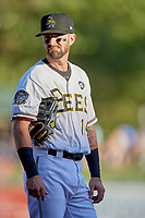 Nick Franklin (14) of the Salt Lake Bees during the game against the Las Vegas Aviators at Smith's Ballpark on July 20, 2019 in Salt Lake City, Utah. The Aviators defeated the Bees 8-5. (Stephen Smith/Four Seam Images)