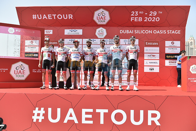 UAE Team Emirates at sign on before Stage 1 of the UAE Tour 2020 running 148km from The Pointe to Dubai Silicon Oasis, Dubai. 23rd February 2020.<br /> Picture: LaPresse/Fabio Ferrari   Cyclefile<br /> <br /> All photos usage must carry mandatory copyright credit (© Cyclefile   LaPresse/Fabio Ferrari)