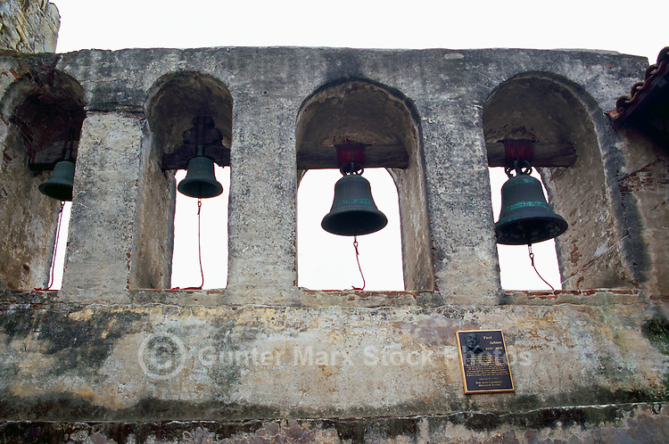 Mission San Juan Capistrano, San Juan Capistrano, California, USA - the Campanario (Bell Wall) - Historic Landmark founded 1776
