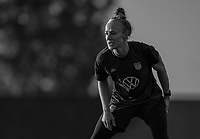 COMMERCE CITY, CO - OCTOBER 25: Becky Sauerbrunn of the USWNT looks to the ball at Dick's Sporting Goods training fields on October 25, 2020 in Commerce City, Colorado.