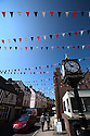 27/05/16<br /> <br /> An incredible eight miles of patriotic bunting flutters in the spring breeze of the small market town of Ashbourne on the edge of the Derbyshire Peak District in preparation for a big party and fun-day this weekend to celebrate the Queen's 90th birthday.<br /> The streets of Ashbourne have been totally transformed by the staggering amount of red, white and blue with shops, cafes and pubs adding to the celebratory  atmosphere by flying union flags and creating colourful window displays.<br /> <br /> All Rights Reserved F Stop Press Ltd +44 (0)1335 418365