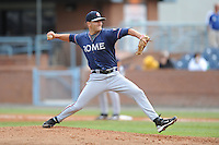 Rome Braves Matt Suschak #40 delivers a pitch during  a game against  the Asheville Tourists at McCormick Field in Asheville,  North Carolina;  May 18, 2011. The Braves won the game 8-7.  Photo By Tony Farlow/Four Seam Images