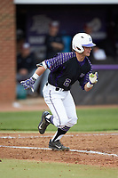 Hunter Lee (2) of the High Point Panthers hustles down the first base line against the North Carolina Central Eagles at Williard Stadium on February 28, 2017 in High Point, North Carolina. The Eagles defeated the Panthers 11-5. (Brian Westerholt/Four Seam Images)