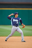 Corpus Christi Hooks shortstop Chan Moon (3) throws to first during a game against the Arkansas Travelers on May 29, 2015 at Dickey-Stephens Park in Little Rock, Arkansas.  Corpus Christi defeated Arkansas 4-0 in a rain shortened game.  (Mike Janes/Four Seam Images)