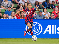 AUSTIN, TX - JUNE 16: Christen Press #23 of the USWNT dribbles during a game between Nigeria and USWNT at Q2 Stadium on June 16, 2021 in Austin, Texas.