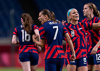 SAITAMA, JAPAN - JULY 24: Tobin Heath #7 of the USWNT celebrates during a game between New Zealand and USWNT at Saitama Stadium on July 24, 2021 in Saitama, Japan.